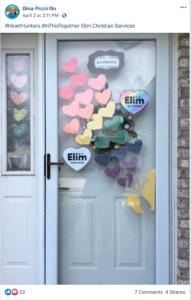 Gina Piccirillo Front Door with Elim Hearts, from Facebook
